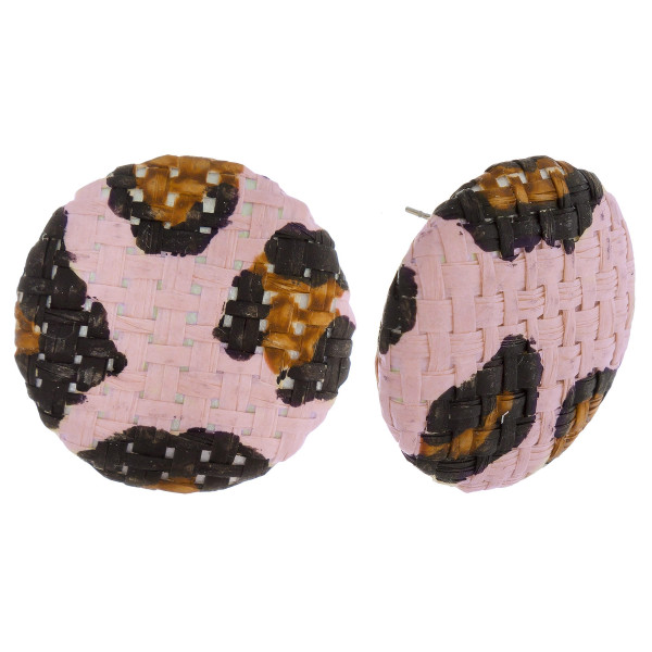 """Short button stud earrings with raffia details. Approximately 1"""" in length."""