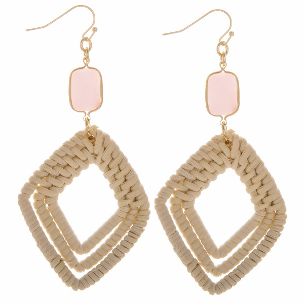 "Woven rattan triple diamond drop earrings featuring a rose stone accent. Measure approximately 3"" in length."