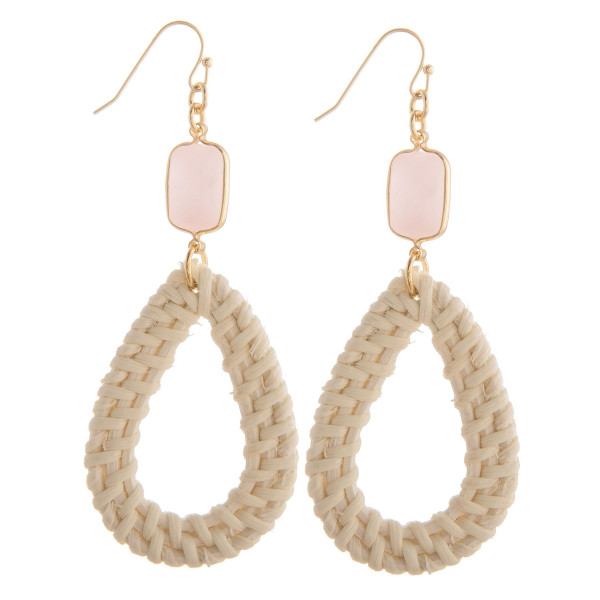 """Long fishhook straw drop earring with natural stone. Approximate 2.5"""" in length."""