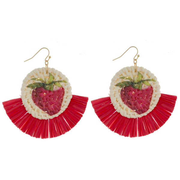 "Long round straw earrings with raffia tassel with fruit print. Approximate 2.5"" in length."