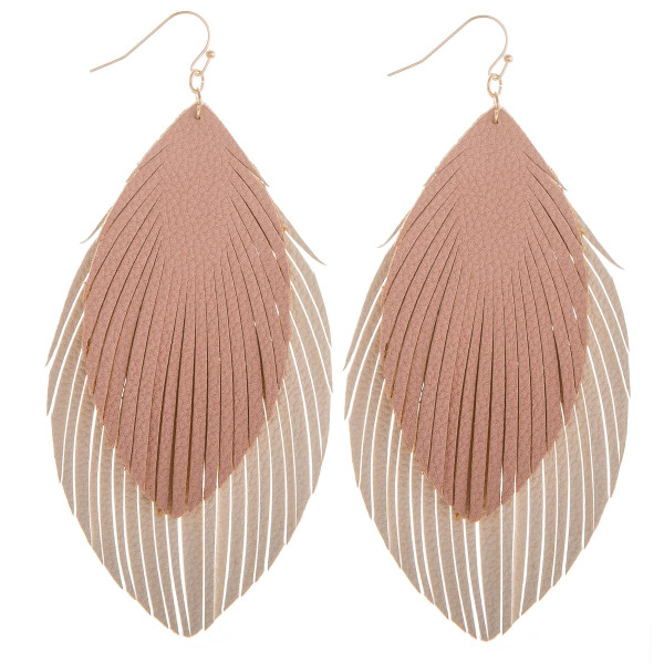 "Long layered leather double feathered earrings. Approximate 4"" in length."
