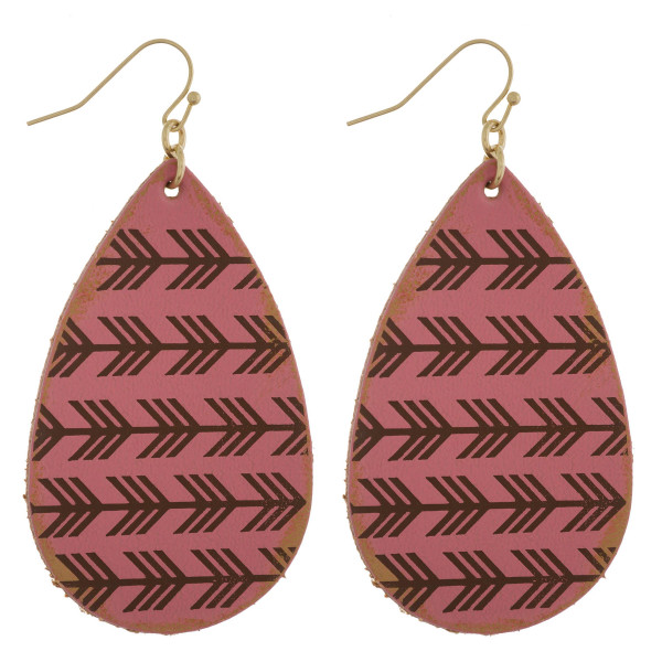 """Long leather earrings with connecting arrows details. Approximate 2.5"""" in length."""