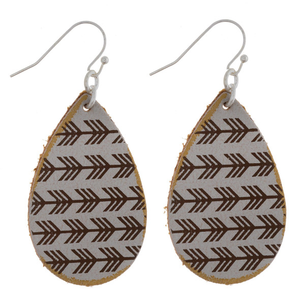 """Long leather earrings with connecting arrows details. Approximate 2"""" in length."""