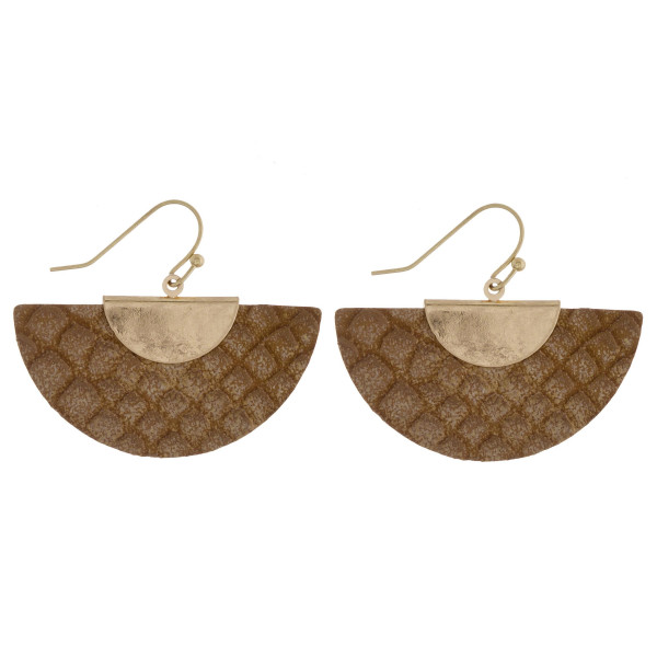 """Short leather fanned earrings with snakeskin print detail. Approximate 1"""" in length."""