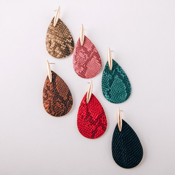 """Faux leather teardrop earrings featuring snakeskin details and a metal stud accent. Approximately 2.5"""" in length."""