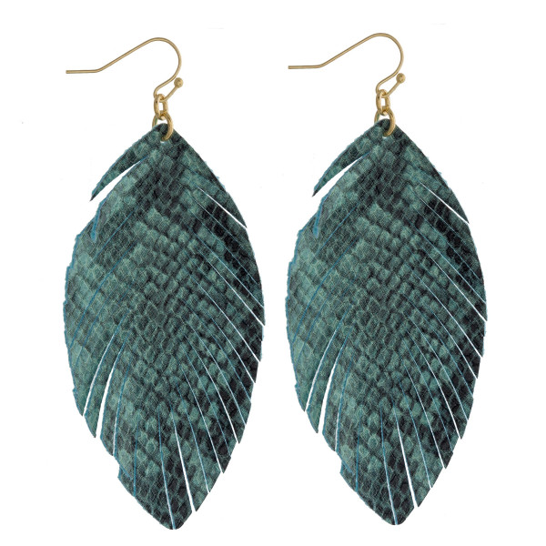 """Faux leather feather inspired drop earrings featuring green snake skin. Approximatley 3"""" in length."""