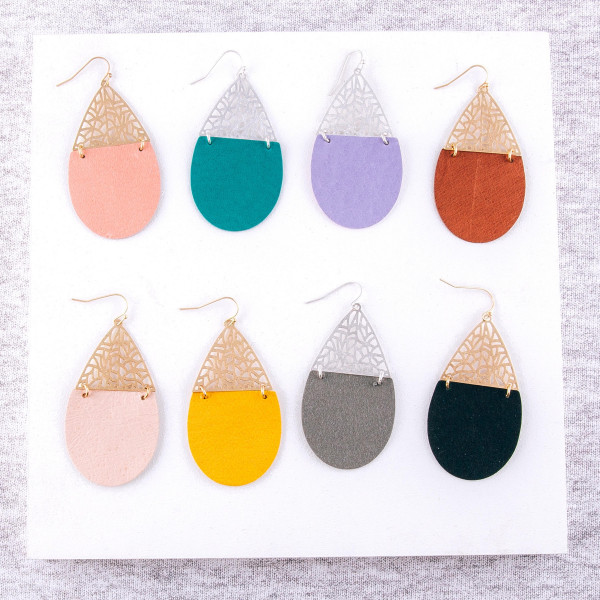 "Filigree and faux leather inspired linked teardrop earrings. Approximately 2.5"" in length."