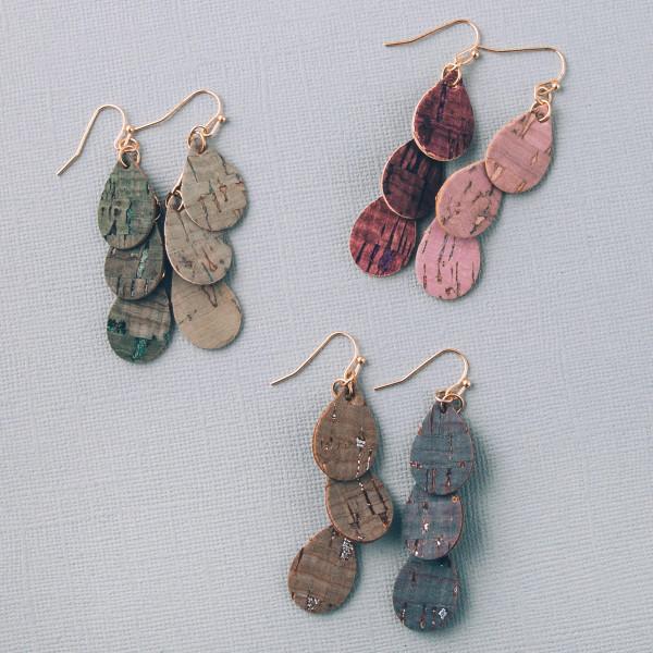 """Cork inspired teardrop drop earrings. Approximately 2"""" in length."""