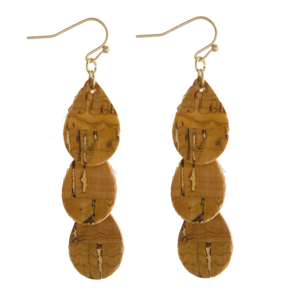 """Long drop earrings featuring a trio teardrop hanging accent with cork inspired details. Approximately 2"""" in length."""