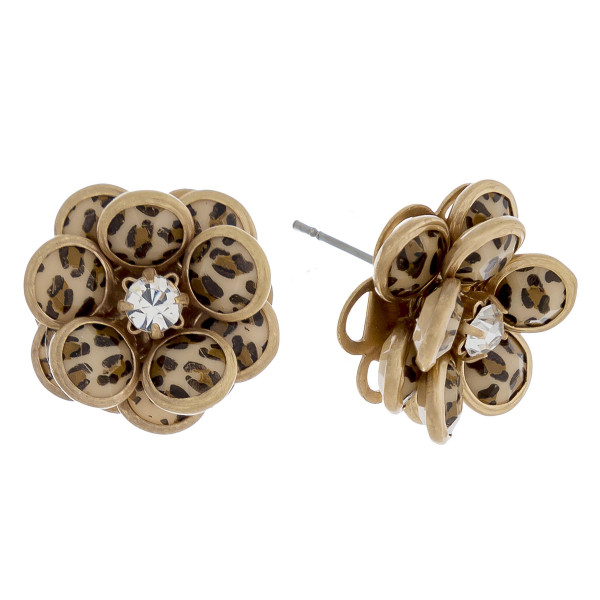 """Flower stud earrings featuring leopard print with cubic zirconia center detail. Approximately .5"""" in diameter."""