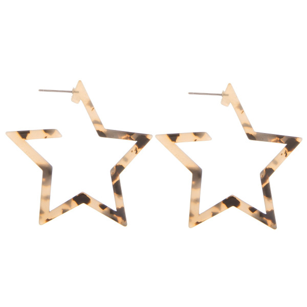 "Long acetate star earrings. Approximate 1.5"" in length."