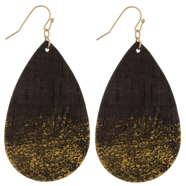 """Long drop cork earrings with glitter. Approximate 2.5"""" in length."""
