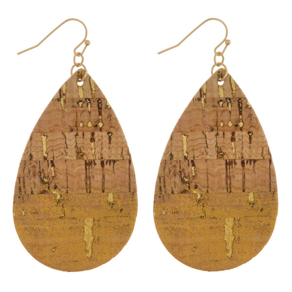 "Long drop cork earrings with glitter. Approximate 2.5"" in length."