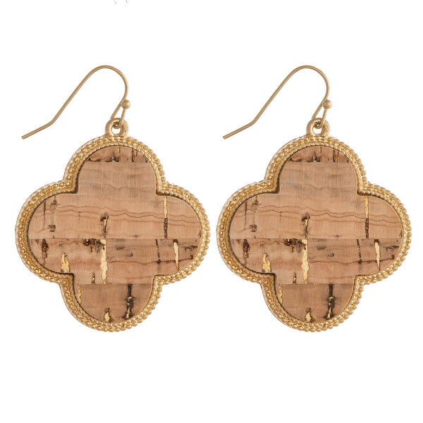 "Clover inspired earrings featuring a cork centered detail and gold metal accents. Approximately 1.5"" in length."
