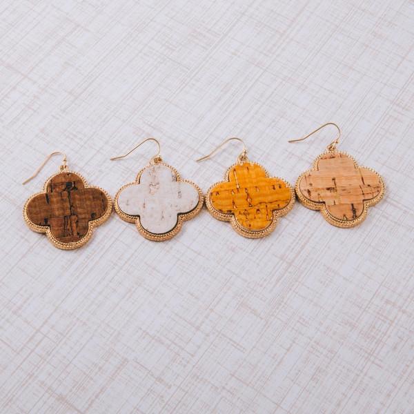 """Clover cork inspired earrings. Approximately 1.5"""" in length."""