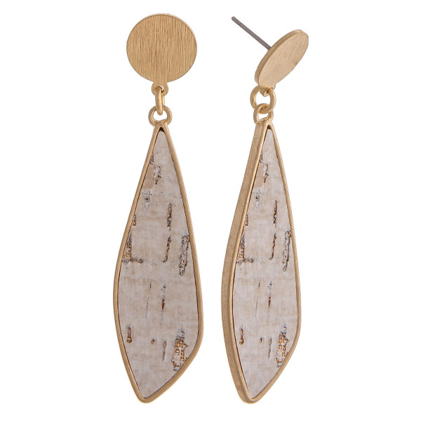 """Cork inspired drop earrings featuring a gold stud accent. Approximately 2.5"""" in length."""