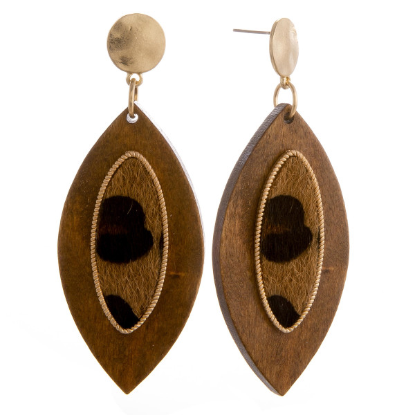 """Long wooden leaf shaped earring with faux fur  center detail. Approximate 3"""" in length."""