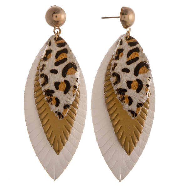 """Genuine leather drop earrings featuring animal print and feather accents with a stud post. Approximately 3"""" in length."""