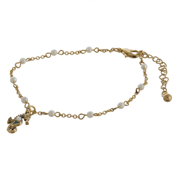 """Seahorse charm anklets with pearls and adjustability for the perfect fit. Approximate 12"""" in length."""
