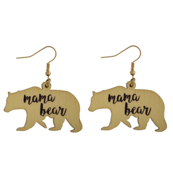 "Long fishhook Mama bear earring. Approximate 1.5"" in length."