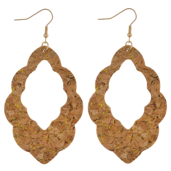 """Long cork earring with moroccan shape. Approximate 3"""" in length."""