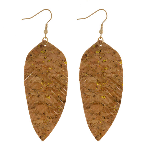 """Long cork earring with leaf shape. Approximate 3"""" in length."""