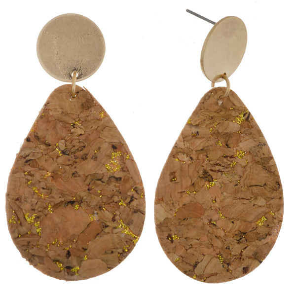 "Long cork earring with metal post. Approximate 2"" in length."