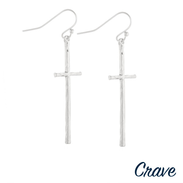 "Long Crave cross earrings. Approximate 2"" in length."
