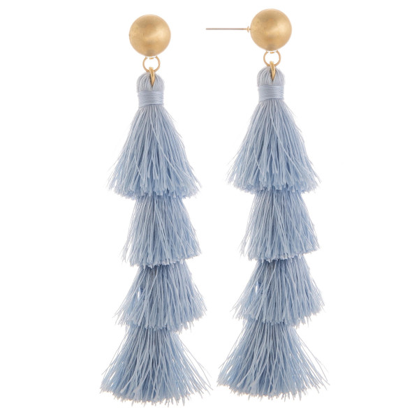 "Long tassel earring with gold post. Approximate 3"" in length."