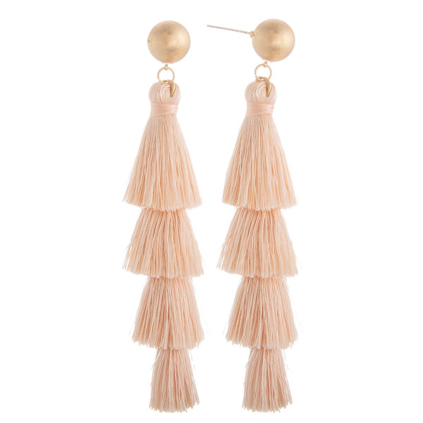 """Long tassel earring with gold post. Approximate 3"""" in length."""