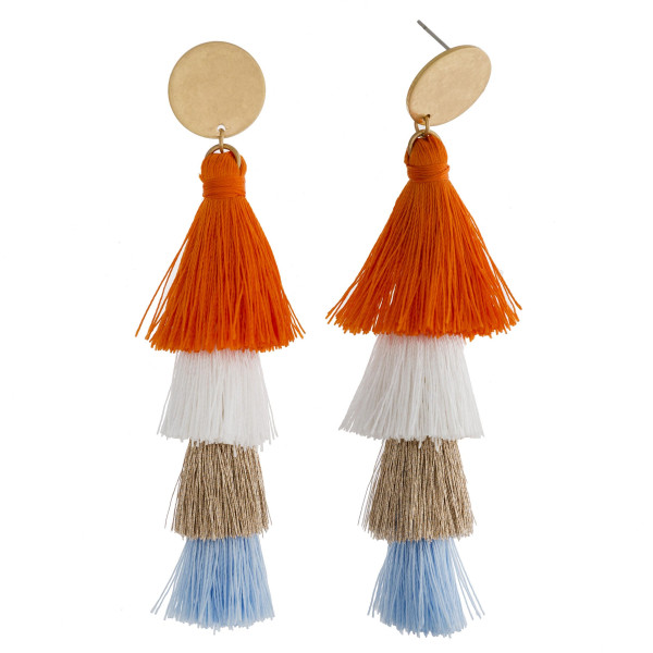 """Long drop earrings featuring fanned tassel details with a stud post. Approximately 3.75"""" in length."""