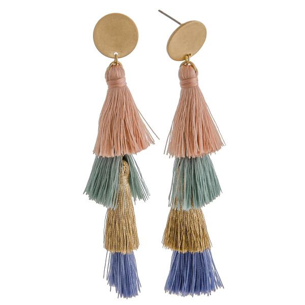 Wholesale long drop earrings fanned tassel details stud post