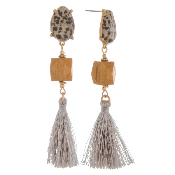 "Long natural stone and wood detail tassel earring. Approximate 3"" in length."