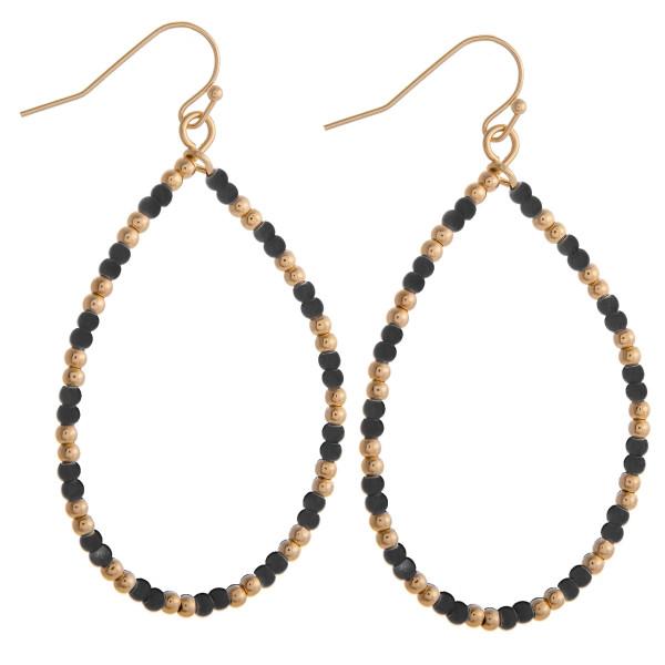 Wholesale black beaded teardrop earrings gold accents diameter