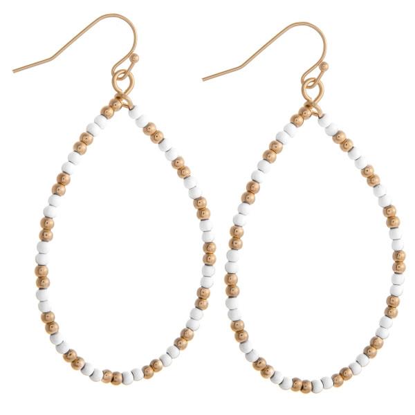 Wholesale white beaded teardrop earrings gold accents diameter