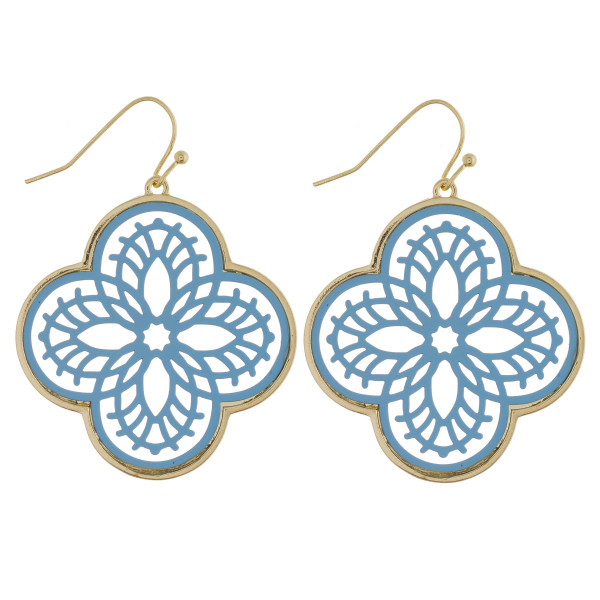 """Long metal trimmed clover earring with acetate details. Approximate 2"""" in length."""