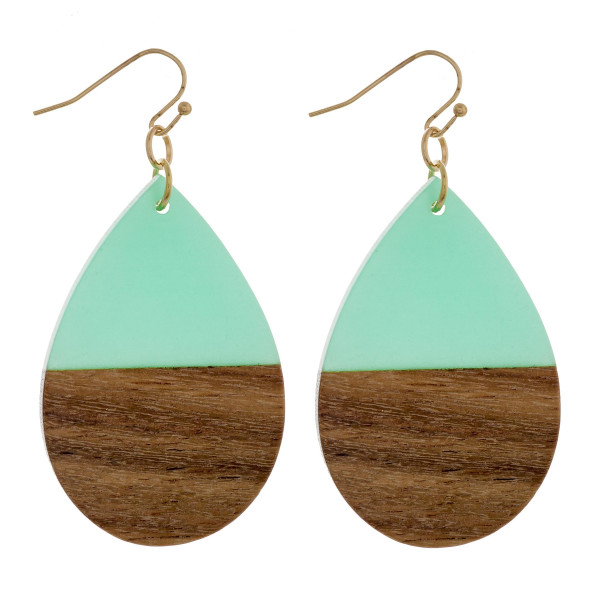 """Teardrop earrings featuring mint resin and wood accents. Approximately 1.5"""" in length."""
