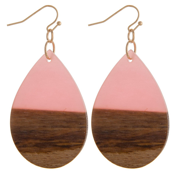 """Teardrop earrings featuring pink resin and wood accents. Approximately 1.5"""" in length."""