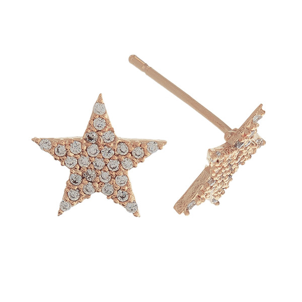Short stud star earrings with rhinestones. Approximate 1cm in length.