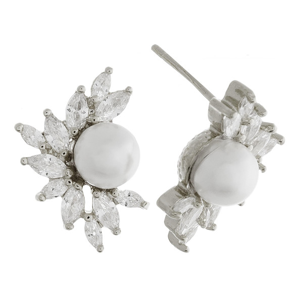 Short stud pearl earring with rhinestones. Approximate 1cm in length.