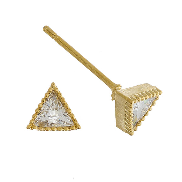 Short stud triangle earrings with rhinestones. Approximate 1cm in length.