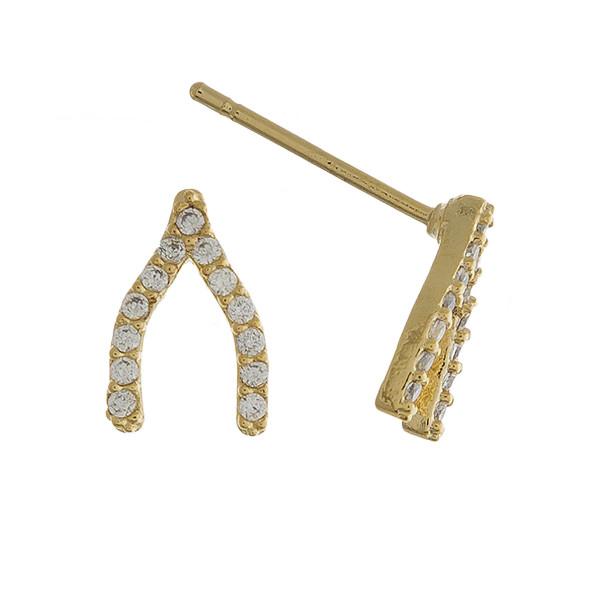 Short stud wishbone earrings with rhinestones. Approximate 1cm in length.