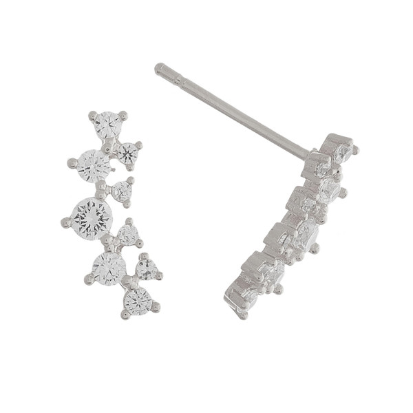 Metal ear climbers with rhinestones. Approximate .5 in length.