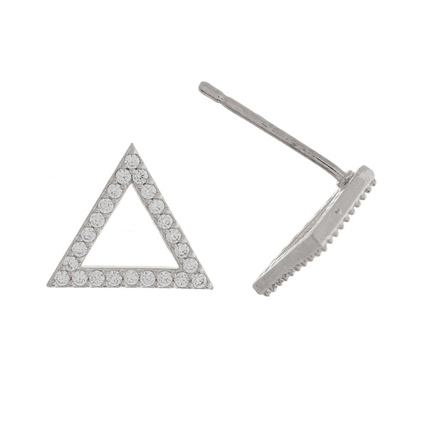 Grab these gorgeous triangle stud earrings with rhinestones. Approximate 1cm.
