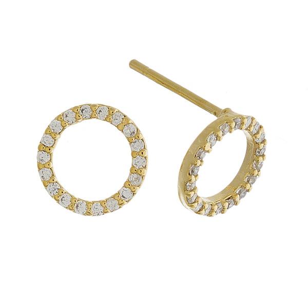 Short stud hoop earrings with rhinestones. Approximate 1cm in length.
