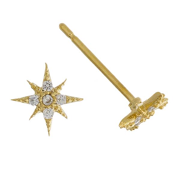 Rhinestone encased north star stud earrings. Approximately 1cm in diameter.