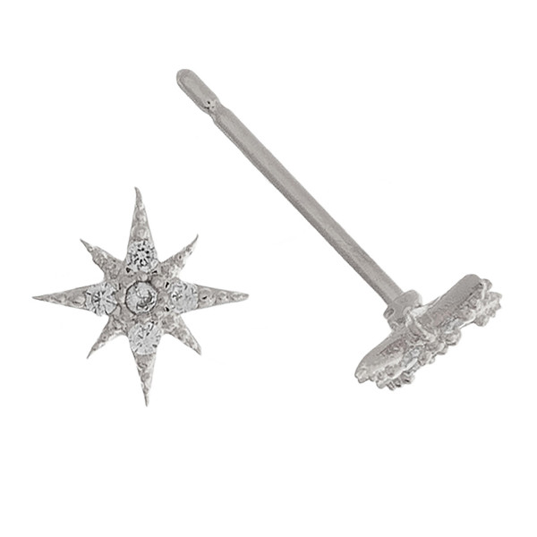 Short stud sparkle earrings with rhinestones. Approximate 1cm in length.
