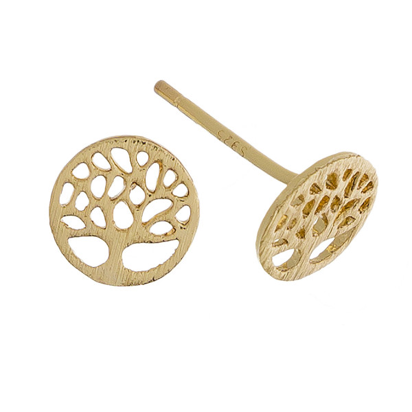Short stud metal earring with tree of life details. Approximate 1cm in length.