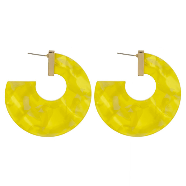 "Long thick acetate earrings. Approximate 1.5"" in length."