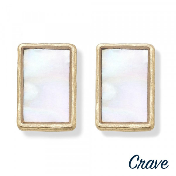 """Short metal earrings with pearl details. Approximate .5"""" in length."""